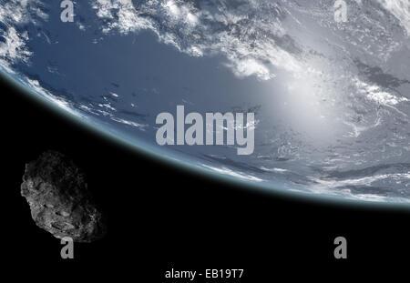 asteroid near earth - Stock Photo