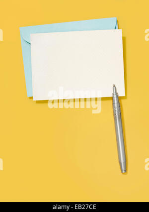 blank greeting card and pen - Stock Photo