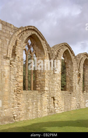 Church windows in the north wall of the quire, Finchale Priory, County Durham, UK - Stock Photo