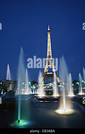 Eiffel Tower at Dusk, View from Palais Chaillot, Paris, France - Stock Photo