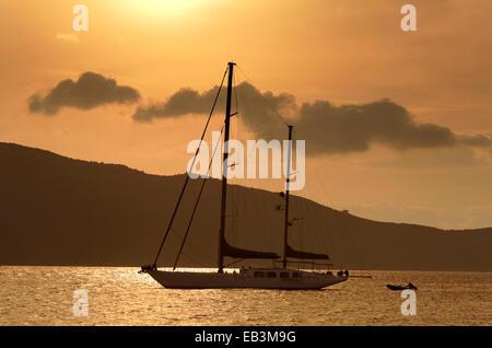 Large sailing yacht at anchor. - Stock Photo