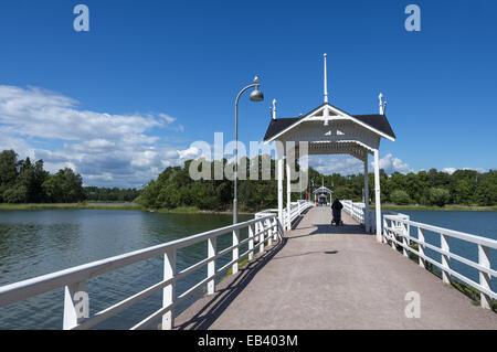 The bridge that connects Seurasaari island to the mainland of Helsinki, Finland - Stock Photo