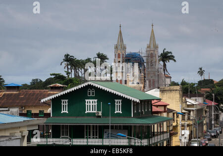 View over the rooftops of city towards the Spanish colonial cathedreal church in Malabo, Equatorial Guinea - Stock Photo