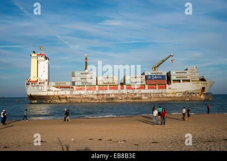 People come to Saler for vessels stranded on the sand, El Saler, Valencia, Spain, Europe - Stock Photo