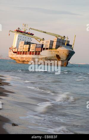 Curious view of the boats moored on the beach sand, El Saler, Valencia, Spain, Europe - Stock Photo