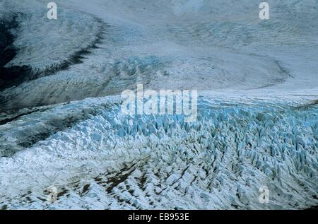 Icefield below the Mount Fitz Roy the mountain located near El Chaltén village in the Southern Patagonian Ice Field - Stock Photo