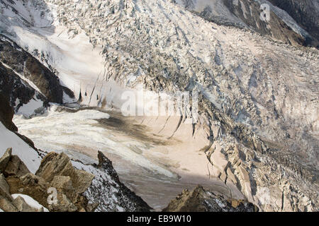 Mont Blanc and the Bossons glacier from the Aiguille Du Midi, France. - Stock Photo