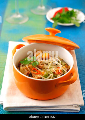 Rice noodles with vegetables. Recipe available. - Stock Photo