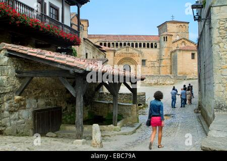 12th century ancient antique architecture artistic blue building Cantabria century church cityscape Civil architecture - Stock Photo