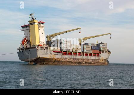 Boat beached on the sand El Saler Valencia Spain Europe - Stock Photo