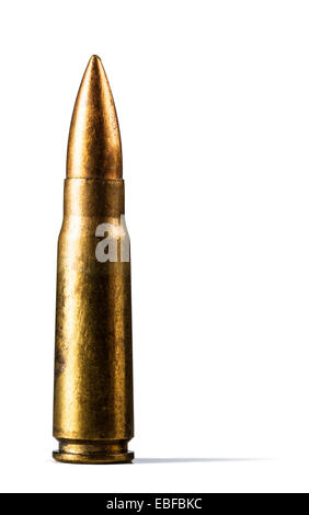 Single rifle bullet over  white background - Stock Photo