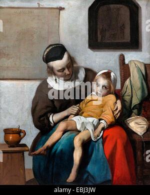 Gabriel Metsu, The Sick Child. Circa 1660-1665. Oil on canvas. Rijksmuseum Amsterdam, Netherlands. - Stock Photo