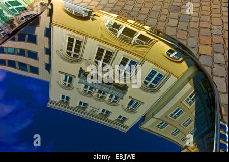 facades reflected in an engine bonnet, Germany, Hamburg - Stock Photo