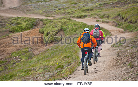 Rear view of three mountain bikers cycling through Reykjadalur valley, South West Iceland - Stock Photo