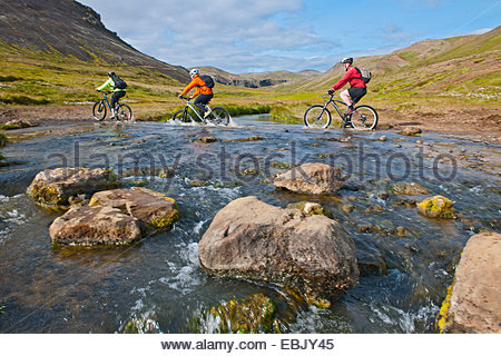 Mountain bikers cycling through hot river, Reykjadalur valley, South West Iceland - Stock Photo