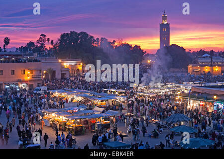 market place Djemaa el Fna in the evening, Morocco, Marrakesh - Stock Photo