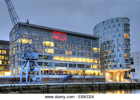 Hamburg Hafencity with Messmer Momentum and residential buildings Oval in the evening, Germany, Hamburg - Stock Photo