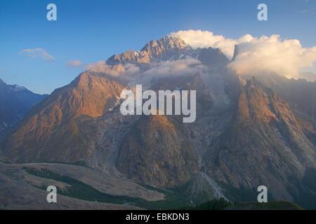 Mont Blanc from Aouth East: Mont Blanc du Courmayeur (im the middle), Aiguille Noir de Peuterey (right), Italy - Stock Photo