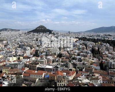 Mount Lycabettus, view from Acropolis, Greece, Athens - Stock Photo