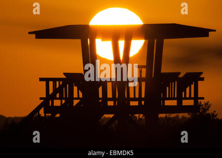 Silhouette of a watchtower, Merritt Island, Titusville, Brevard County, Florida, USA - Stock Photo