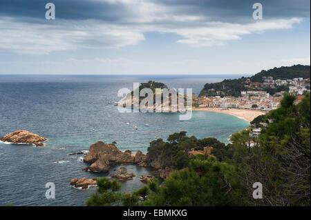 Town with sandy beach near the sea, Tossa de Mar, Costa Brava, Catalonia, Spain - Stock Photo