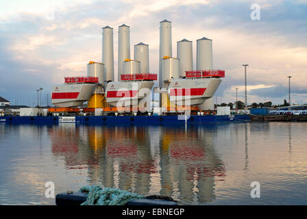 components for offshore wind farms in harbour Kaiserhafen, Germany, Bremerhaven - Stock Photo