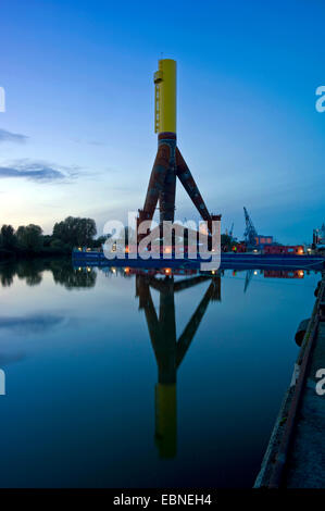 components of offshore wind farms in harbour Labradorhafen, Germany, Bremerhaven - Stock Photo