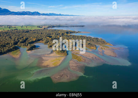 Chiemsee and Tiroler Achen river delta, Germany, Bavaria, Lake Chiemsee - Stock Photo