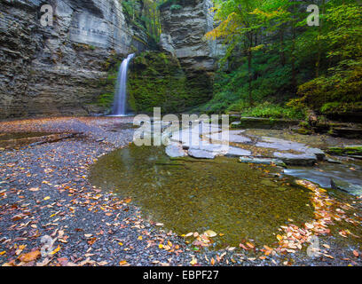 Eagle Cliff Falls in Havanna Glen Park in the Finger Lakes region in the town of Montour Falls New York - Stock Photo