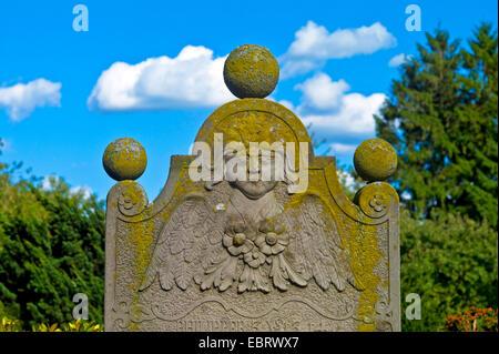 old gravestone on the cemetery, Germany, Bremen - Stock Photo