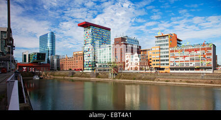 different facades of office buildings in the Media Harbour, Germany, North Rhine-Westphalia, Duesseldorf - Stock Photo