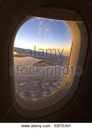 view from window of an airplane - Stock Photo