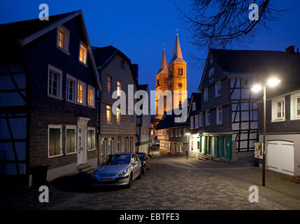 old town with St. Mary's Church in evening light, Germany, North Rhine-Westphalia, Ruhr Area, Schwelm - Stock Photo