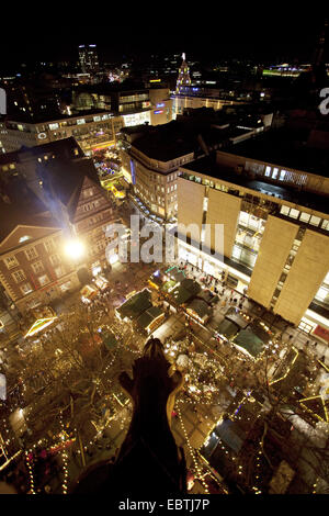 view from steeple of St. Reinoldi-church to Christmas market in inner city, Germany, North Rhine-Westphalia, Ruhr - Stock Photo