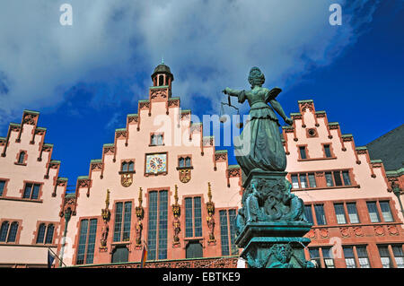 sculpture of goddess Justitia on a well at Roemerberg in ith old city of Frankfurt, Germany, Hesse, Frankfurt/Main - Stock Photo