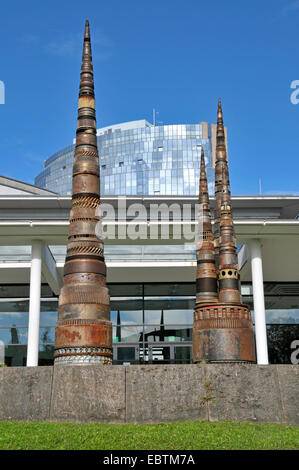 sculptures made from gear units in front of congress centre Hotel Maritim, Germany, Baden-Wuerttemberg, Ulm - Stock Photo