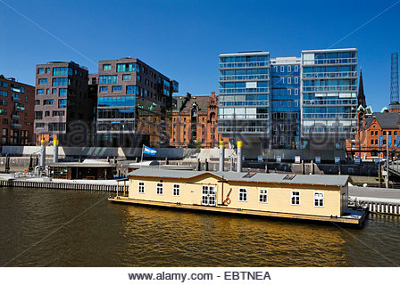 houseboat in the HafenCity, Germany, Hamburg - Stock Photo