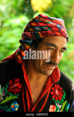 descendant of the Mayas in traditional clothes, Guatemala, Chichicastenango - Stock Photo