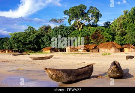 dougout canoe on a beach of Lake Malawi, Malawi, Chinteche - Stock Photo