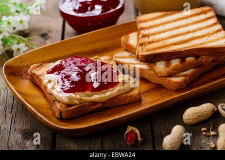 peanut butter sandwich with jam - Stock Photo