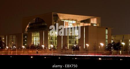 federal chancellorship at night, Germany, Berlin - Stock Photo