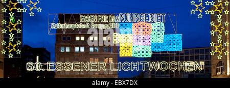 sign Essener Lichtwochen (weeks of illuminations in Essen), Germany, North Rhine-Westphalia, Ruhr Area, Essen - Stock Photo