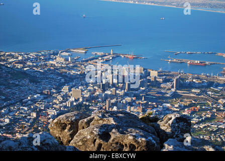 view from the Table Mountain onto Cape Town, Viktoria and Alfred Waterfront, South Africa, Capetown - Stock Photo