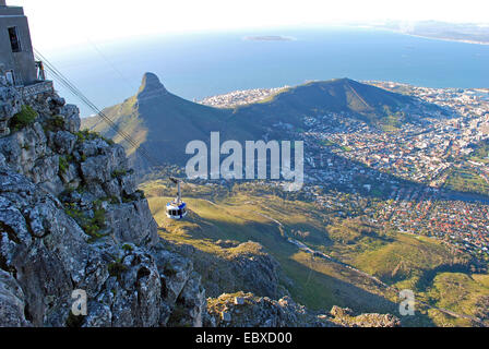 view from the Table Mountain onto Signal Hill, South Africa, Capetown - Stock Photo