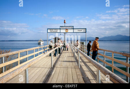 jetty on the island of Frauenchiemsee, Germany, Bavaria, Frauenchiemsee - Stock Photo