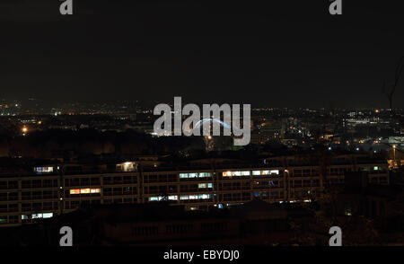 Night overview of the Garbatella district in Rome, Italy - Stock Photo