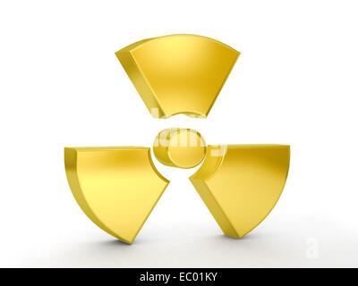 Gold radiation symbol on a white background. - Stock Photo