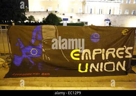 Athens, Greece. 7th Dec, 2014. A banner outside the Greek Parliament compares the European Union to the evil Galactic - Stock Photo