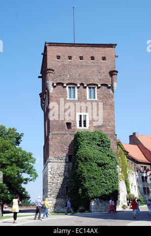 Watch tower on Wawel Hill of Krakow in Poland. - Stock Photo