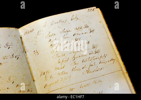 Dickens - pharmacist's prescription, 2nd August 1859, from Rochester High St., Kent. in the Rochester Guildhall - Stock Photo